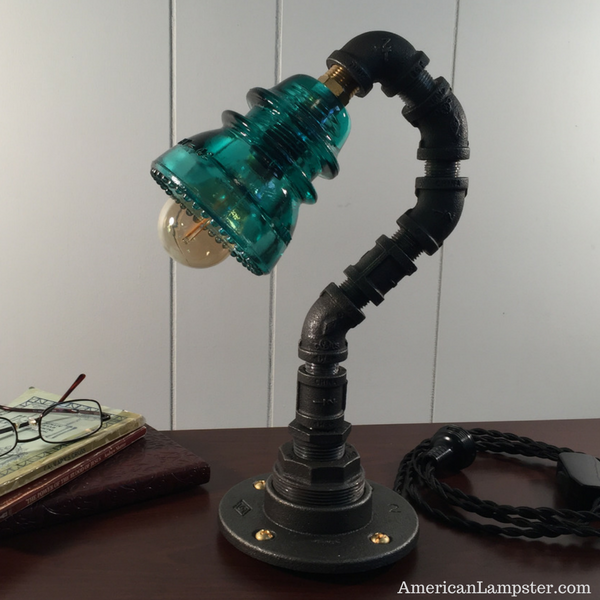 Glass Insulator Industrial Table Lamp